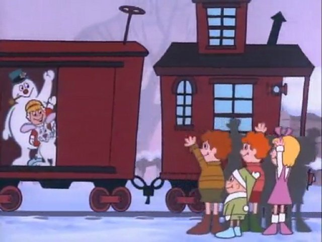 Frosty the snowman Karen and Hocus boaring the train